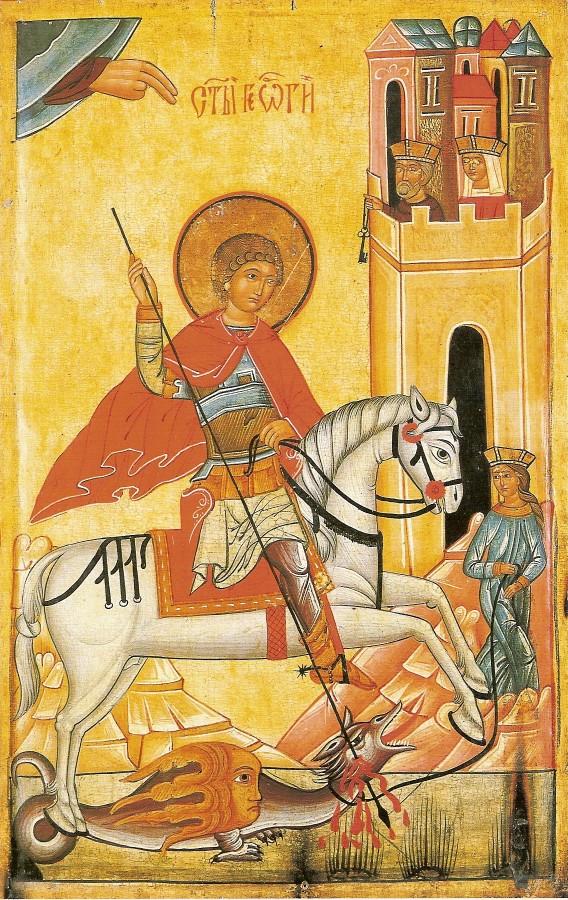 Ikone aus Wysokie in der Slowakei, 15. - 16. Jahrhundert: Georg tötet den Drachen, während Martha ihn schon gezähmt und ans Halsband genommen hat und dafür die Krone erhielt, im Stadtmuseum der Region Przemysl in Polen