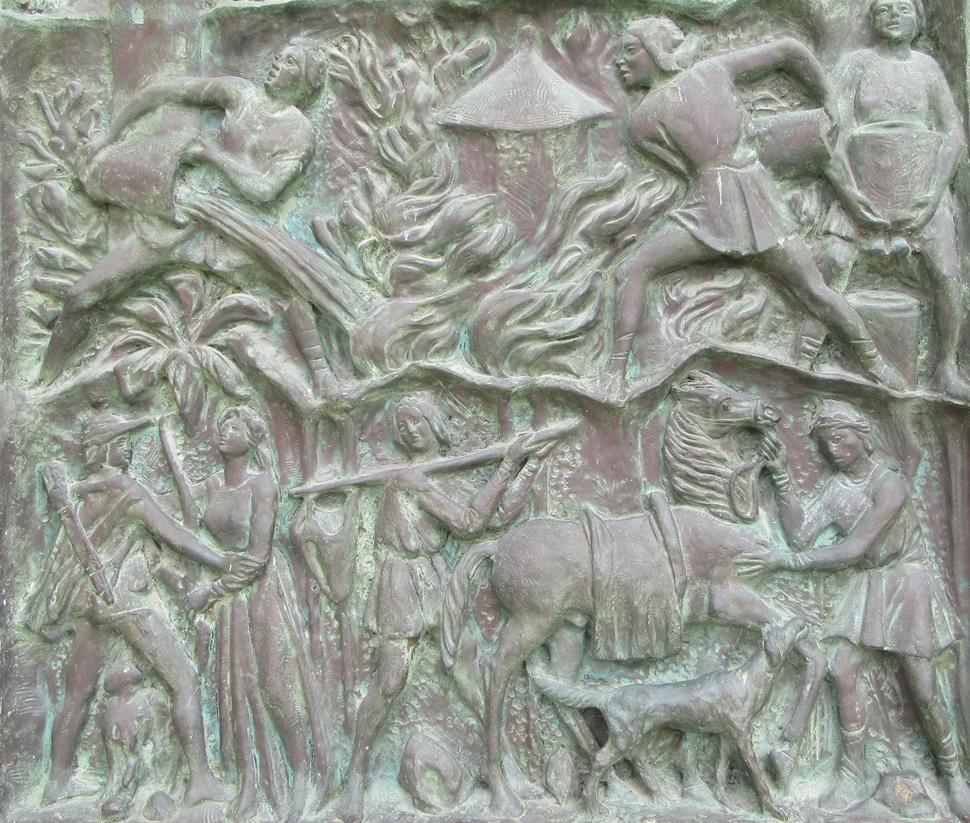 Giuseppe Fortunato Pirrone (1898-1978): Brannen som ble forårsaket av Konrad, bronserelieff på døren til katedralen i Noto (1982) © Joachim Schäfer – Ökumenisches Heiligenlexikon