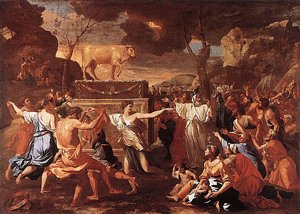 Nicolas Poussin: Der Tanz ums goldene Kalb, um 1634, in der National Gallery in London