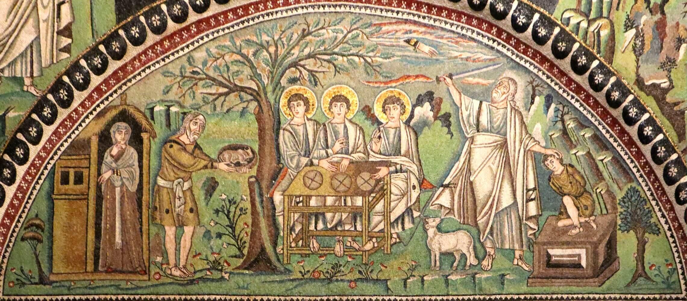 Mosaik: Abrahams Gastfreundschaft und Gehorsam., 6. Jahrhundert, in der Kirche San Vitale in Ravenna