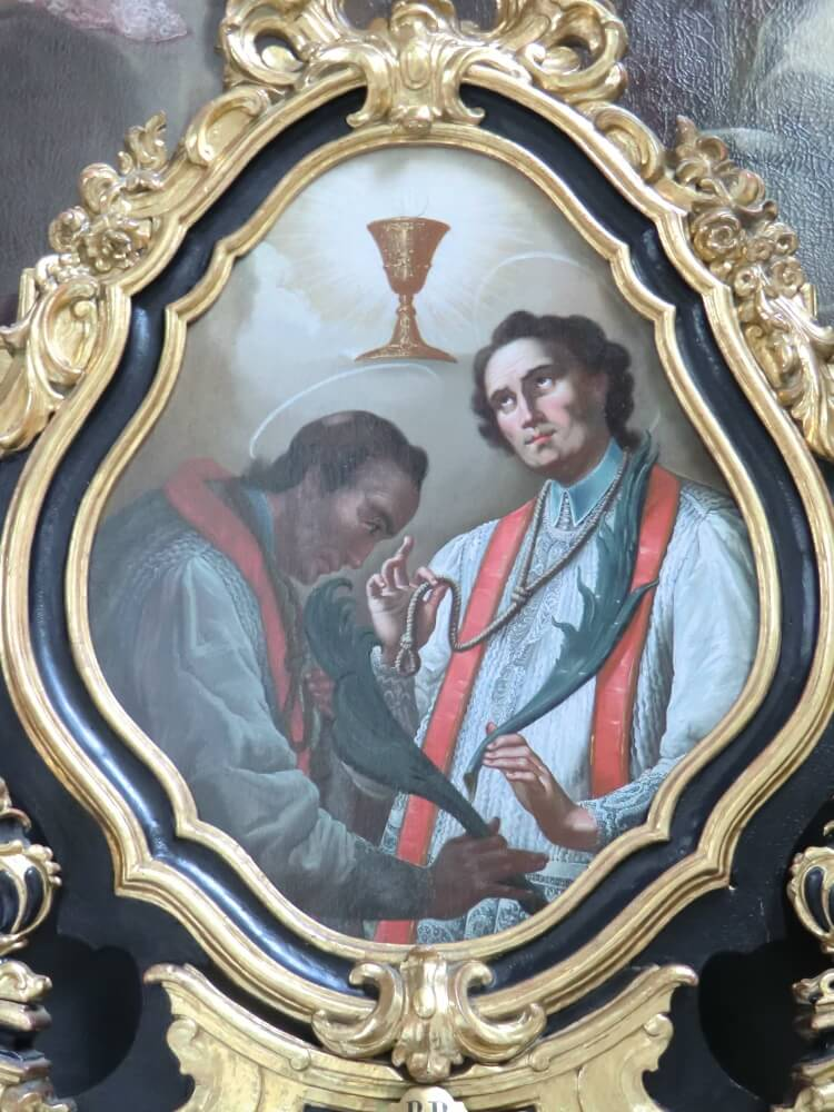 Hadrian av Hilvarenbeek (t.h.) og Jakob Lacops (t.v.), alterbilde i premonstratenserklosteret i Wilten i Innsbruck i Østerrike (Joachim Schäfer – Ökumenisches Heiligenlexikon)