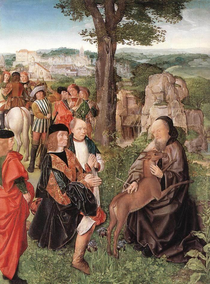 Meister von Saint Gilles: Ägidius und die Hirschkuh mit König Wamba, um 1500, in der National Gallery in London