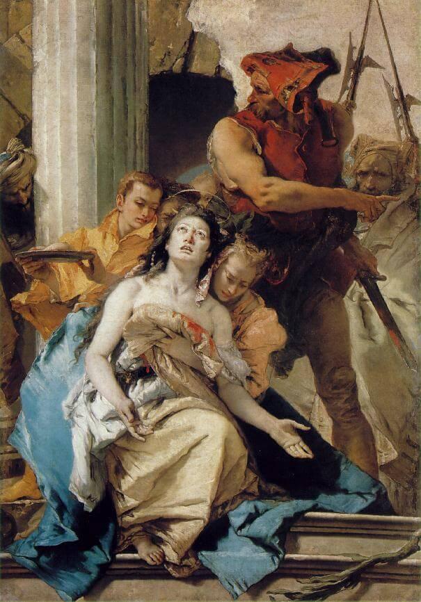 Giovanni Battista Tiepolo: Das Martyrium der heiligen Agatha mit den abgeschnittenen Brüsten, 1756. Gemäldegalerie, Staatliche Museen Preussischer Kulturbesitz in Berlin
