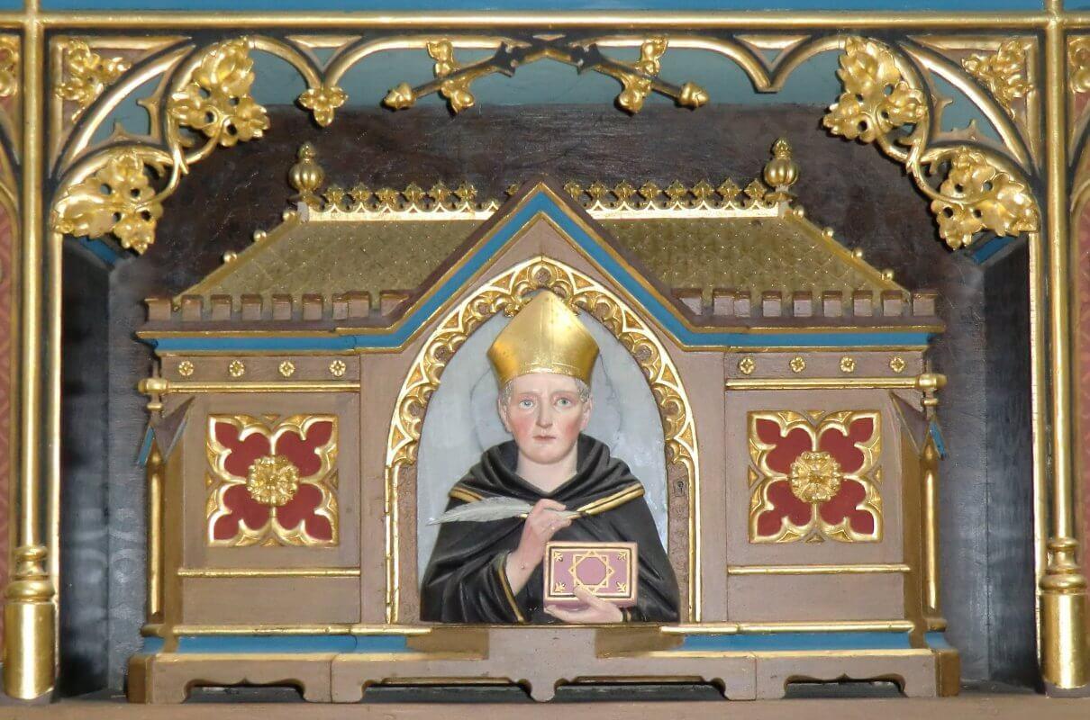 Reliquienkästchen mit der Hirnschale von Albertus, in der Pfarrkirche St. Martin in Lauingen