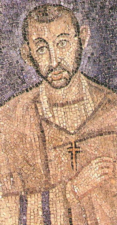 Mosaik in der Kirche S. Ambrogio, um 470. Diese älteste Darstellung von Ambrosius ist wohl das älteste erhaltene Portrait eines Heiligen überhaupt