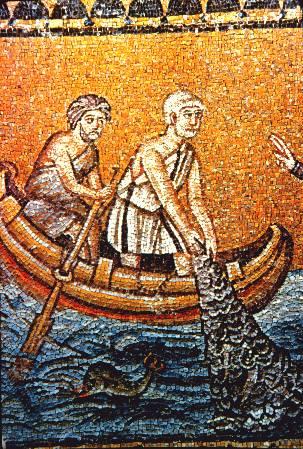 Mosaik: Andreas als Fischer, vor 526, in der Kirche San Apollinare Nuovo in Ravenna