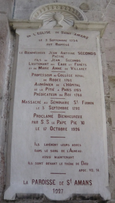 Gedenktafel für Johannes-Anton Seconds in der Kathedrale in Rodez