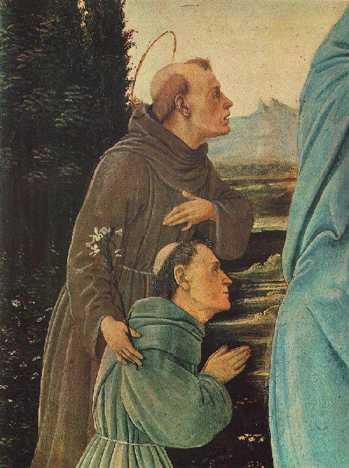 Filippino Lippi: Maria mit Antonius und einem Franziskanerbruder (Ausschnitt), vor 1480, Museum der Schönen Künste in Budapest