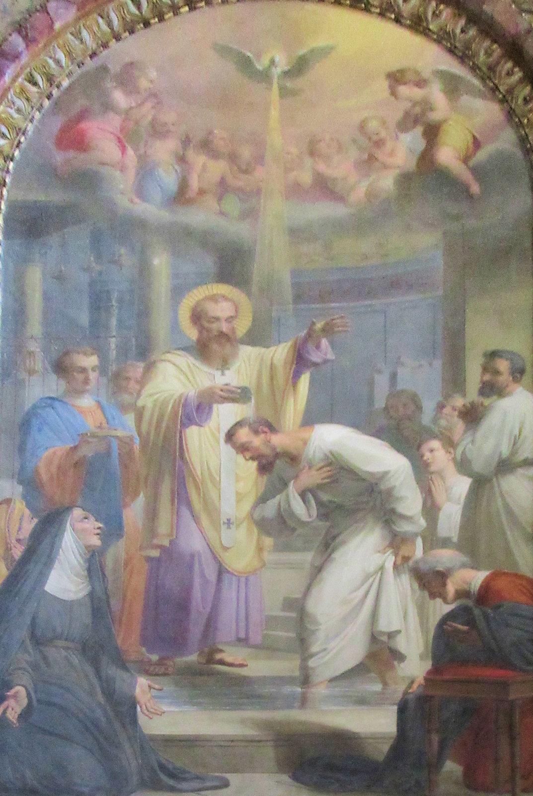 Pietro Gagliardi: Augustinus wird von Ambrosius im Beisein seiner Mutter Monika getauft, um 1850, in der Kirche Sant'Agostino in Rom