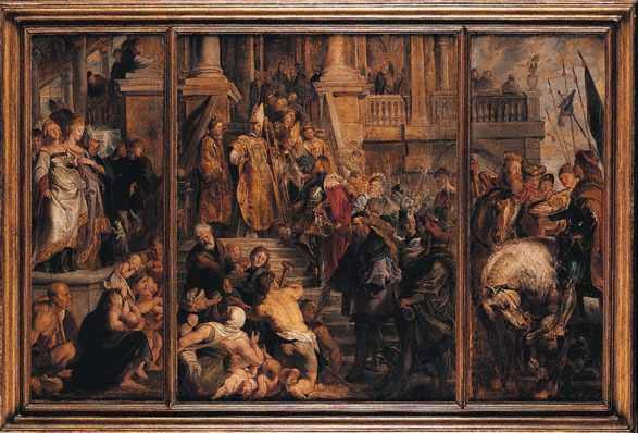 Peter Paul Rubens: Bavo wird zum Mönch eingekleidet, Entwurf für den Altar der Kathedrale St. Bavo in Ghent, vor 1612 oder 1616/23, heute in der National Gallery in London