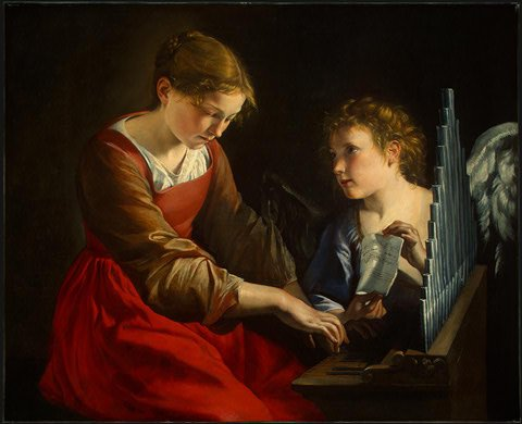 Orazio Gentileschi und Giovanni Lanfranco: Cäcilia mit dem Engel, um 1617/1618 und um 1621/1627, National Gallery of Art in Washington