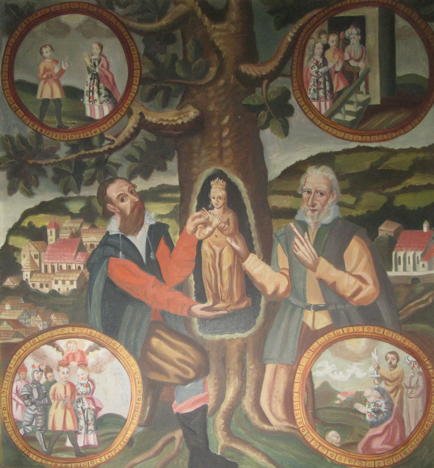 Votivbild: Die Auffindung der Corona-Statue in der Linde und Medaillons mit Szenen aus Corona Leben, 1650, in der Pfarrkirche in St. Corona am Wechsel