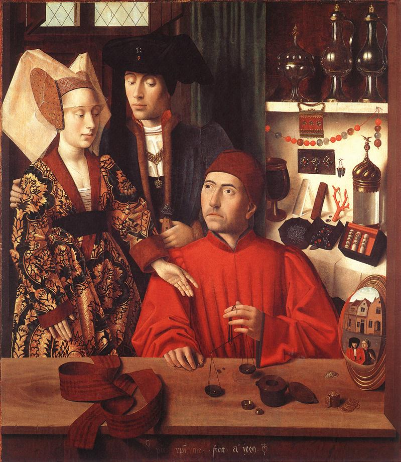 Petrus Christus: Eligius als Goldschmied mit Godeberta (links), 1449, Metropolitan Museum of Art in New York
