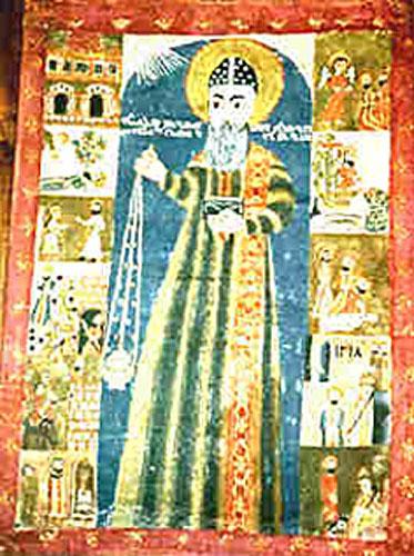 Fresko, 13. Jahrhundert, aus Amida, dem heutigen Diyarbakır in der Türkei