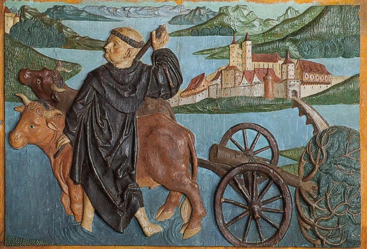 Relieftafel: Fridolin leitet den Rhein um, spätgotisch, im Schatz des Münsters in Säckingen
