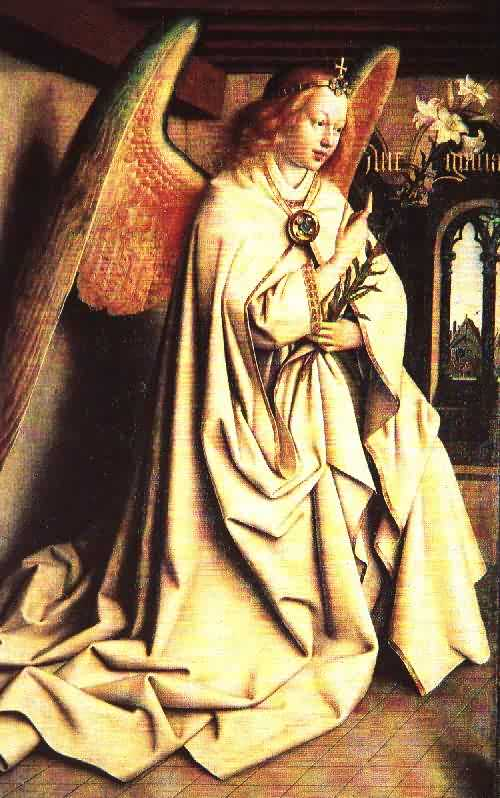 Hubert und Jan van Eyck: Gabriel verkündet Maria die Geburt von Jesus, 1432, Genter Altar in der Bavo-Kathedrale in Gent