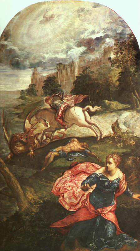 Jacopo Robusti Tintoretto: Georg und der Drache, 1560, National Gallery in London