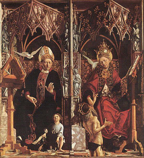 Michael Pacher: Altar der vier lateinischen Kirchenväter - Detail mit Augustinus (links) und Gregor dem Großen, um 1483, Alte Pinakothek in München