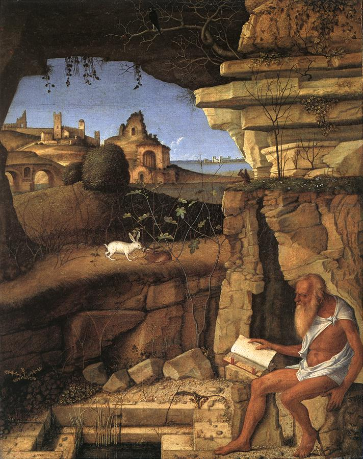 Giovanni Bellini: Hieronymus liest in der Landschaft, 1505, in der National Gallery of Art in Washington
