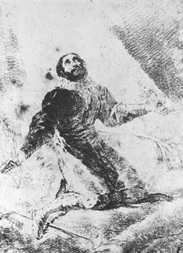Francisco Goya (1746 - 1828): Radierung, in der Bibliotheca Nacional in Madrid
