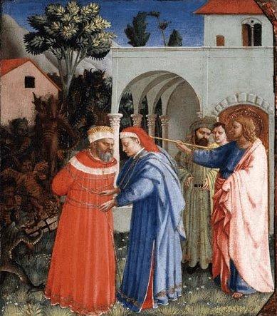 Fra Angelico: Jakobus befreit den Zauberer Hermogenes von den Dämonen, Ausschnitt aus einem Altarbild, 1430, im Kimbell Art Museum in Fort Worth, Texas, USA