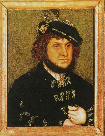Lucas Cranach der Ältere</a>: Portrait, 1509, im Originalrahmen, National Gallery in London