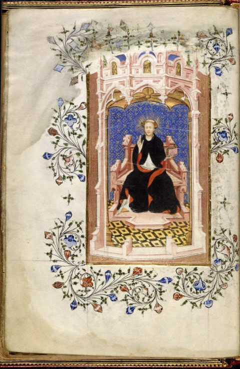 Buchmalerei des Master of the Beaufort Saints, aus England (London?): Johannes von Bridlington, um 1410, in der British Library in London