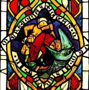 Jona, aus dem Steinhövelfenster, Speyer 1280, in der Stadtkirche St. Dionysius in Esslingen