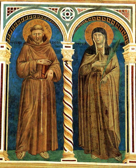 Giotto: Franziskus und Klara, Fresko, 1279 - 1300, in der Oberen Basilika San Francesco in Assisi