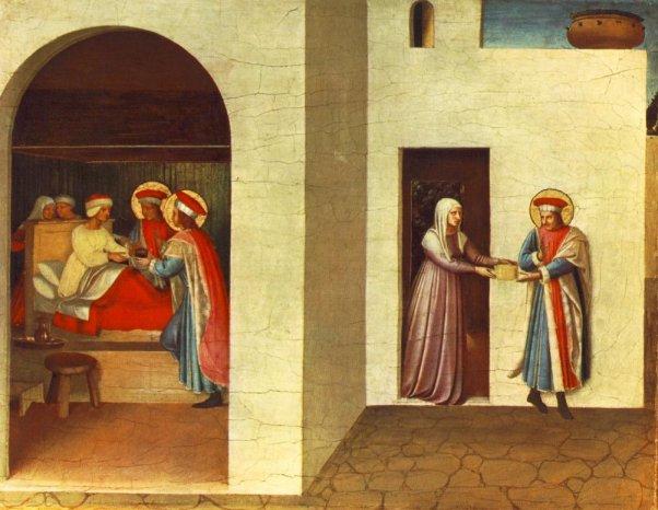 Fra Angelico: Die Heilung der Palladia durch Kosmas und Damian. 1438 - 40, Altar in San Marco in Florenz (Ausschnitt), heute in der National Gallery of Art in Washington