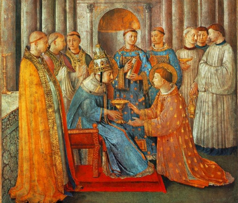 Fra Angelico: Laurentius wird von Papst Sixtus II. zum Diakon ordiniert, Fresko, 1447 - 49, in der Cappella Niccolina im Papstpalast im Vatikan