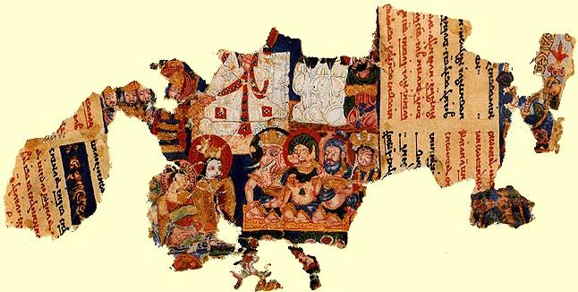 Manichäische Miniaturmalerei aus Kocho in Zentralasien, im Museum für indische Kunst in Berlin