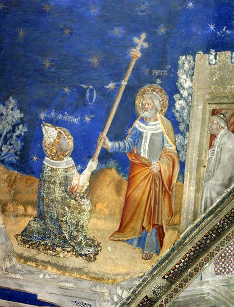 Matteo Giovannetti (d. ca 1370): Martial mottar bispestaven fra Peters hånd (1344/45), i kapellet Saint-Martial i pavepalasset i Avignon © Joachim Schäfer - Ökumenisches Heiligenlexikon