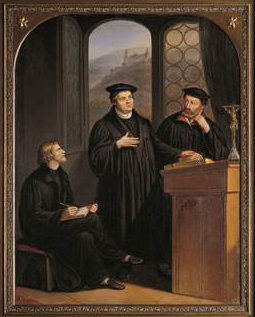 "G. Baumann: Luther mit Johannes Brenz (rechts) und Pfarrer Johann Isenmann aus Schwäbisch Hall (links) bei der ""Heidelberger Disputation"", 1854, in der Kirche St. Katharina in Schwäbisch Hall"