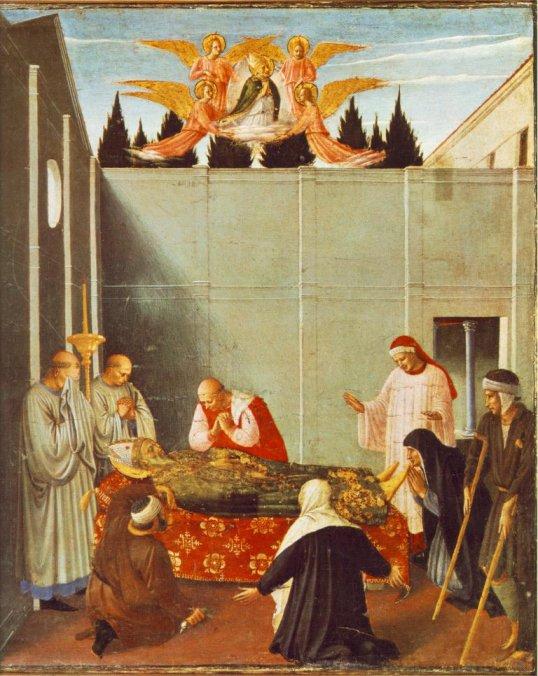 Fra Angelico: Der Tod des Nikolaus, Altarbild in Perugia, 1437, heute in der Pinocothek im Vatikan