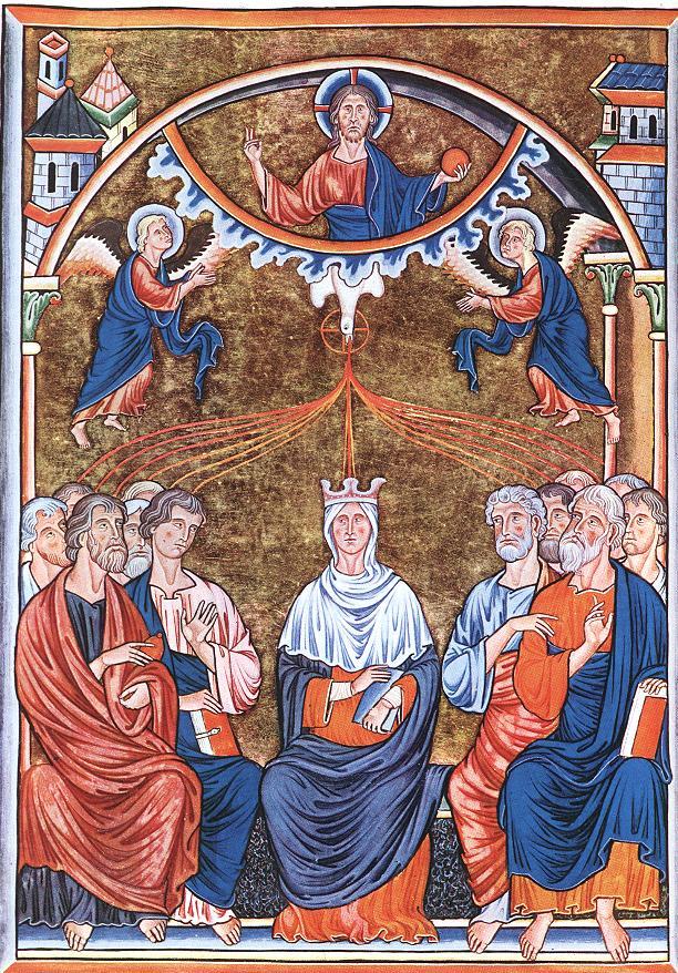 Gothische Miniatur aus dem Ingeborg Psalter: Christus sendet den Geist in Form einer Taube aus über Maria und die zwölf Apostel, vor 1210, Musée Condé in Chantilly
