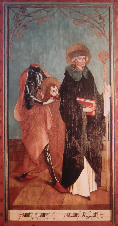 Ivo Strigel: Sigisbert og Placidus, alterbilde (1489), i museet i klosteret Disentis © Joachim Schäfer - Ökumenisches Heiligenlexikon