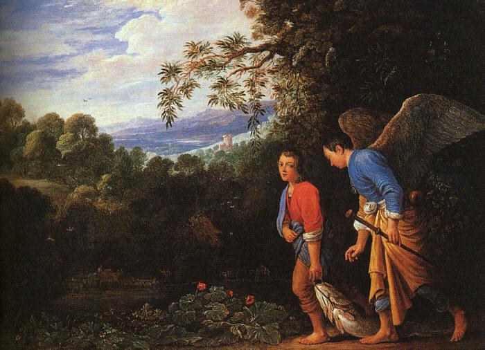 Schüler von Adam Elsheimer: Tobias und Raphael kehren mit dem Fisch heim, 2. Hälfte des 17. Jahrhunderts, in der National Gallery in London