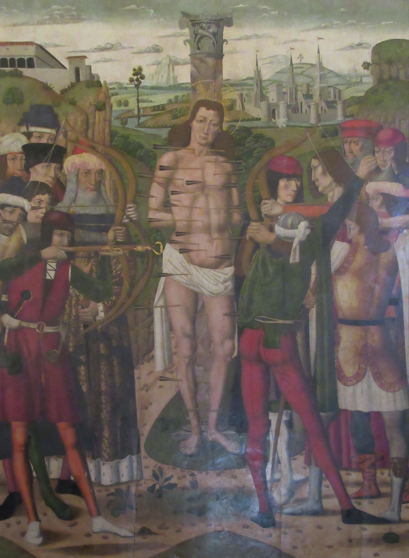 Alonso de Sedano: Sebastians Martyrium, 1488, im Museum der Kathedrale in Palma de Mallorca