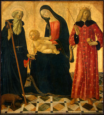 Neroccio de' Landi: Maria mit dem Jesuskind, Antonius dem Großen (links) und Sigismund (rechts), um 1495, National Gallery of Art in Washington