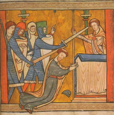 Buchmalerei, Ende des 12. Jahrhunderts: Thomas' Martyrium vor dem Altar in der Kathedrale von Canterbury