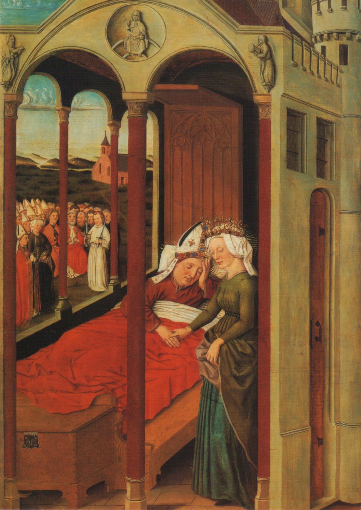 Tafelbild, um 1480: Afra erscheint Bischof Ulrich im Traum, in der Basilika St. Ulrich und Afra in Augsburg