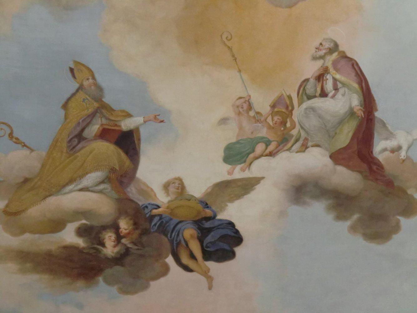 Konrad Huber: die Verherrlichung von Ulrich (links) und Martin von Tours, 1787, Deckengemälde in der Pfarrkirche in Wittislingen, die Ulrich erweitern ließ, wo seine Eltern bestattet sind und deren Turm auf Resten des Bergfriedes der alten Burg steht