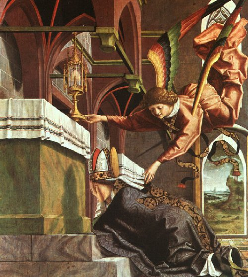 Michael Pacher: Wolfgang pedindo um milagre, detalhe, 1482-1483, Alte Pinakothek, em Munique
